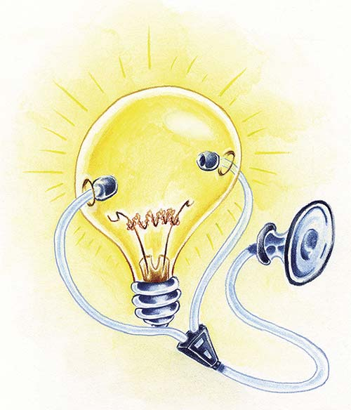 Light bulb with stethoscope